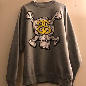 STUSSY heather grey crew neck sweatshirt